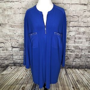 Susan Graver Studded 1/2 Zip Tunic Top 3X